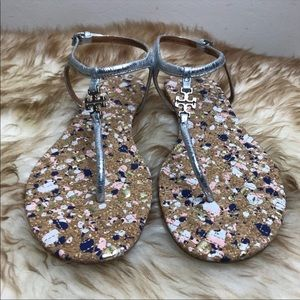 Tory Burch Marion Metallic Silver Sandal 5